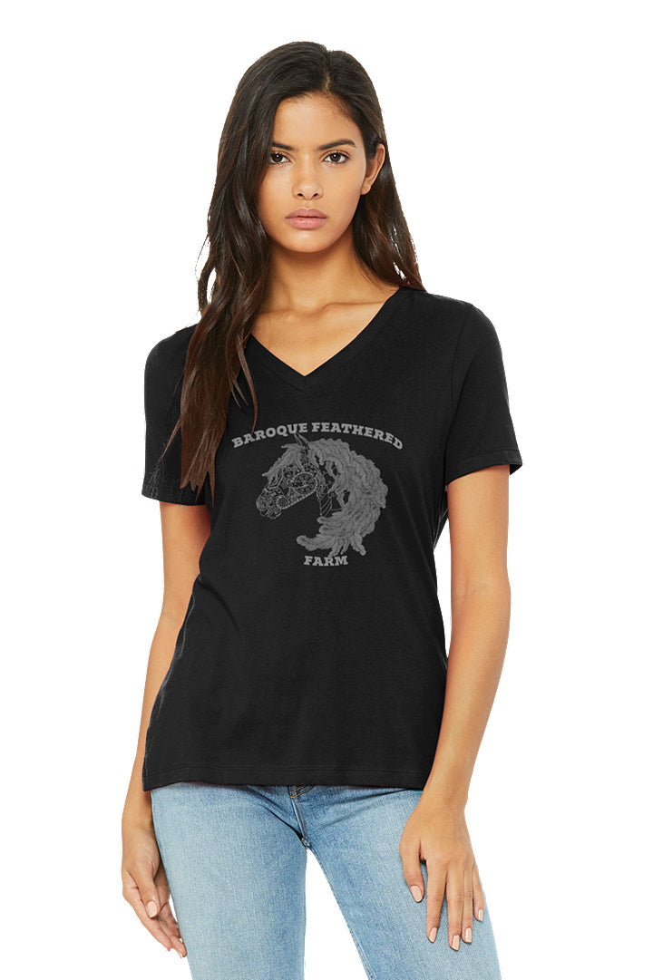 Black Baroque Feathered Farm - BELLA+CANVAS ® Women's Relaxed Jersey Short Sleeve V-Neck Tee