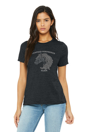 Dark Heather Grey Baroque Feathered Farm - BELLA+CANVAS ® Women's Relaxed Jersey Short Sleeve Tee