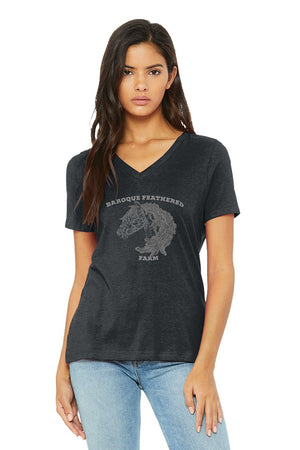 Dark Heather Grey Baroque Feathered Farm - BELLA+CANVAS ® Women's Relaxed Jersey Short Sleeve V-Neck Tee