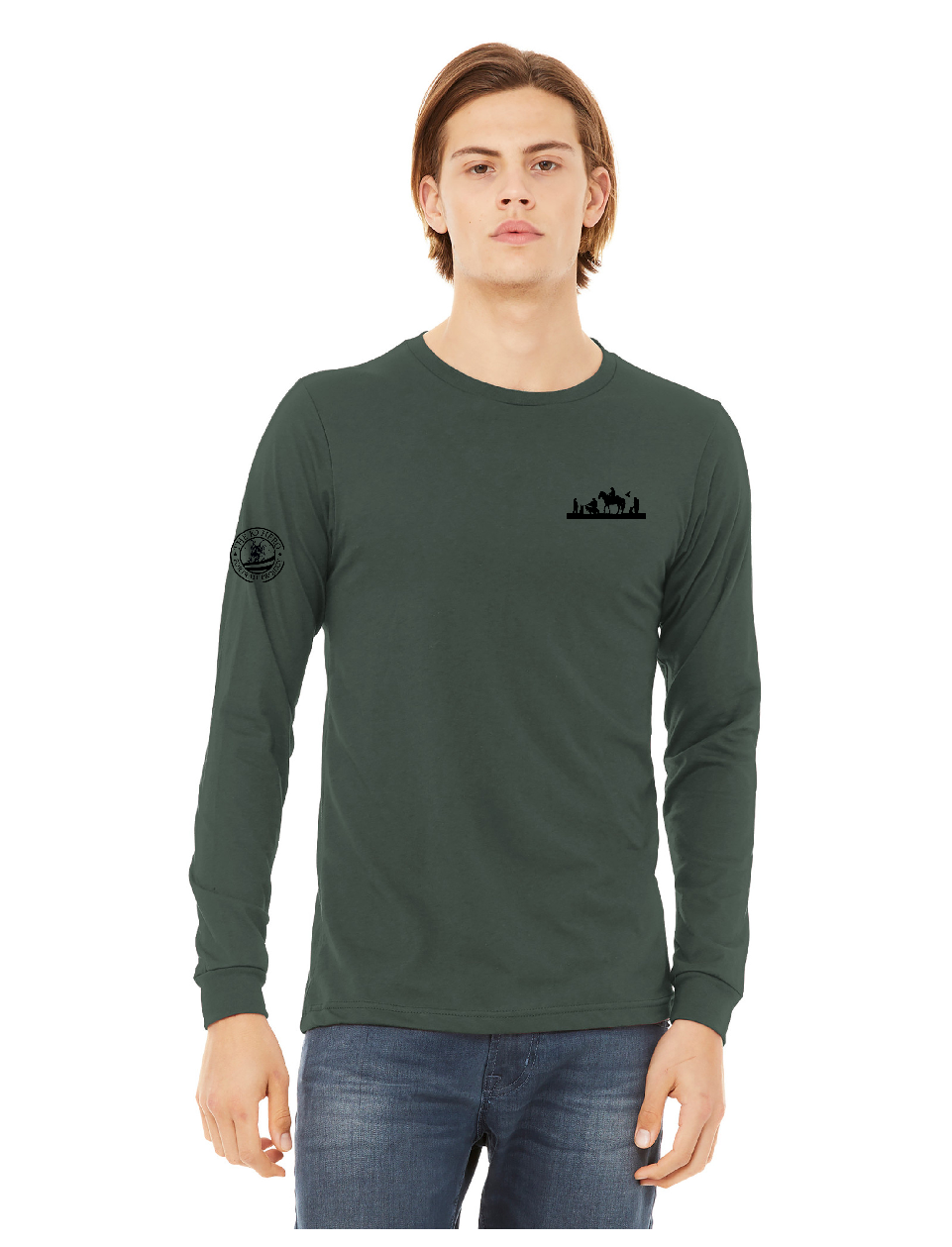 Military Green front K9HPP - K9 Heroes Painted Jersey Long Sleeve Tee