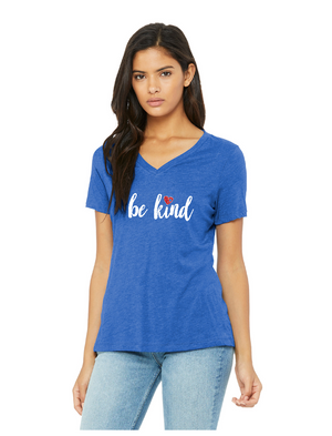 Be Kind - BELLA+CANVAS ® Women's Relaxed Jersey Short Sleeve V-Neck Tee