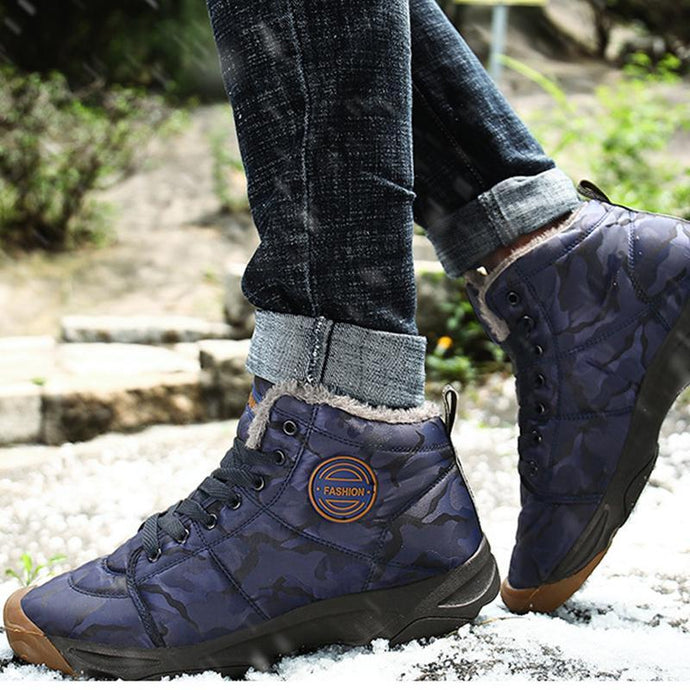 New high-top fashion men and women non-slip wear-resistant warm cotton shoes - agendin