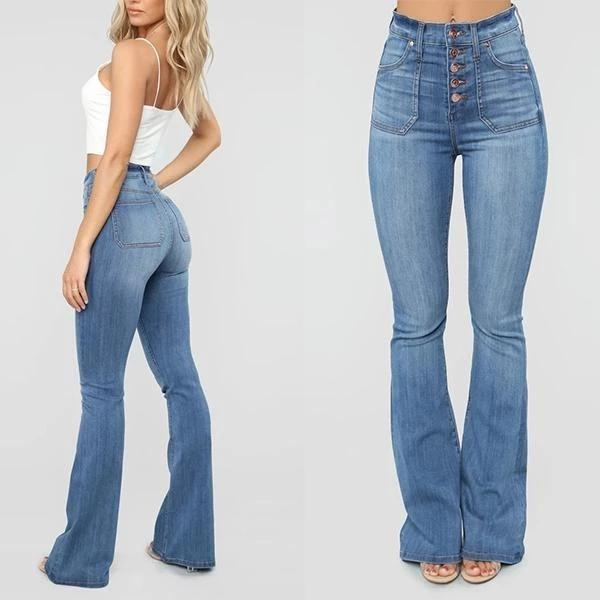 70's High Waist Pants Bell Bottom Jeans