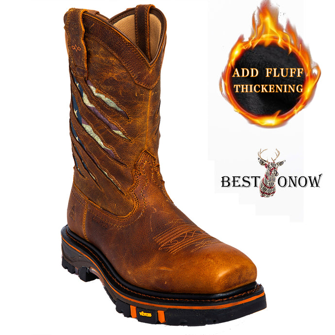 BesToNow ® Men's Ripped Flag Western Work Boots - Composite Toe