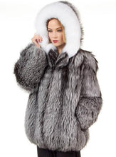 Load image into Gallery viewer, Female Silver Fur Parka Coat