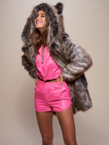【FREESHIPPING】BesToNow Classic Grey Wolf Faux Fur Coat