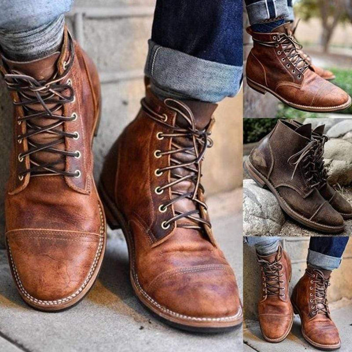 agendin Men's Boots Genuine Leather Lace-up High Quality Vintage British Military Boots