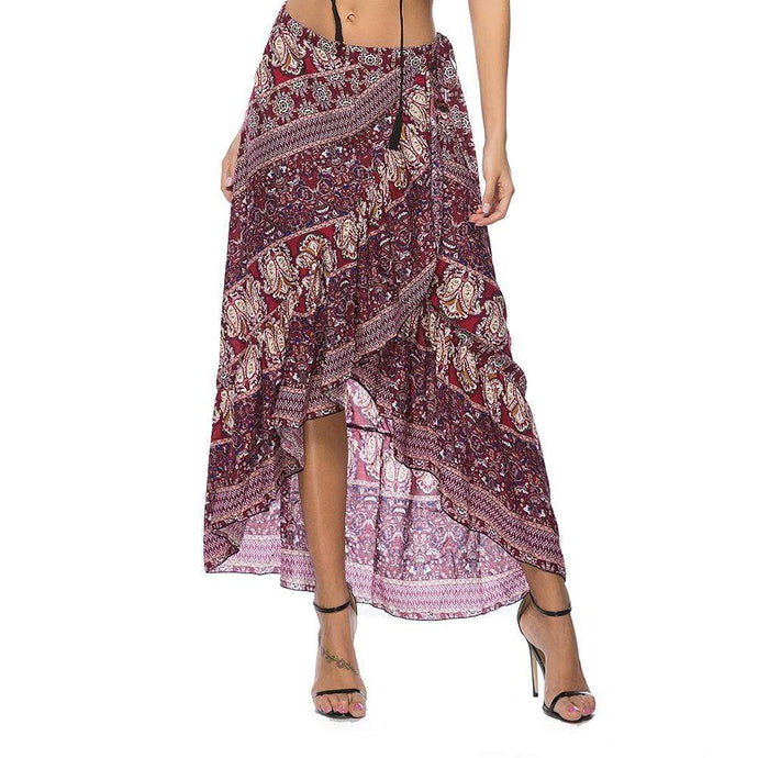 Bohemian Seaside Holiday Print Lace-up Skirt