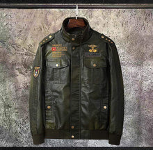 Load image into Gallery viewer, bestonow J Army Green*Biker Stand Collar Leather Jacket