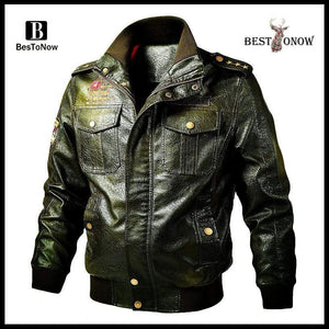 bestonow J Army Green*Biker Stand Collar Leather Jacket