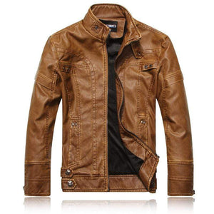 bestonow J Black*Vintage Multi Seam Snap Tab Leather Moto Jacket