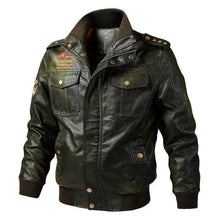 Load image into Gallery viewer, bestonow J M / Ordinary Army Green*Biker Stand Collar Leather Jacket