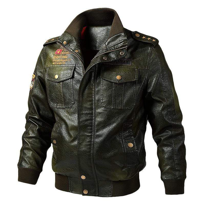 bestonow J M / Ordinary Army Green*Biker Stand Collar Leather Jacket