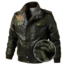 Load image into Gallery viewer, bestonow J M / Plus Velvet Thickening Army Green*Biker Stand Collar Leather Jacket