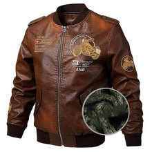 Load image into Gallery viewer, bestonow J M / Plus Velvet Thickening Coffee*Motorcycle Locomotive Leather Jacket