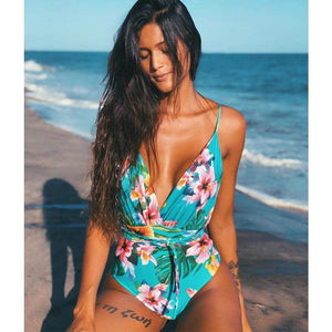 bestonow Swimwear Green Flower / S Hotsale Multi-Flower Printed One Pieces Swimwear