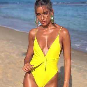 bestonow Swimwear Yellow / S 2019 Sexy Swimsuit Women Swimwear One Piece Bodysuit