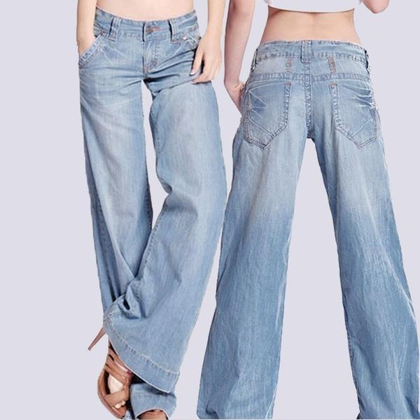 Baggy Hippie Low Waist Wide Leg Denim Jeans