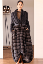Load image into Gallery viewer, Black Fur Long Dress