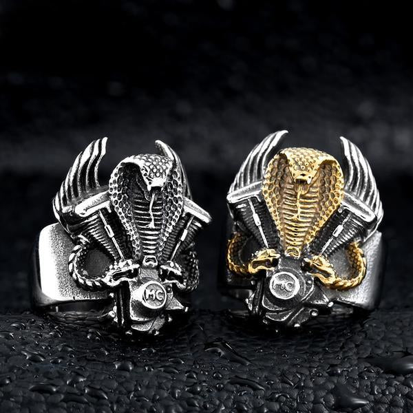 Sterling Silver Retro Cobra Biker Ring