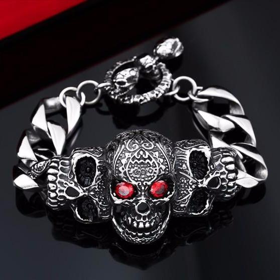 Crystal Red Eye Skull Sterling Silver Bracelet
