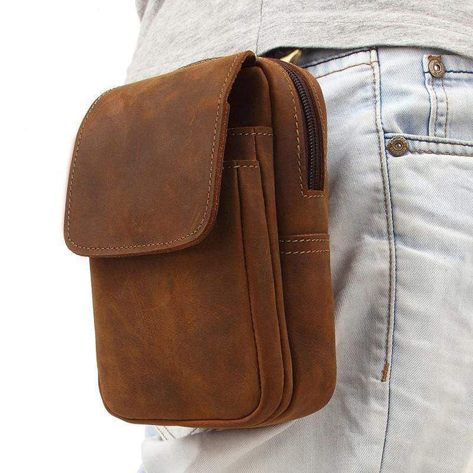 Yolozoon MB Stylish Vintage Men's Leather Fanny Pack