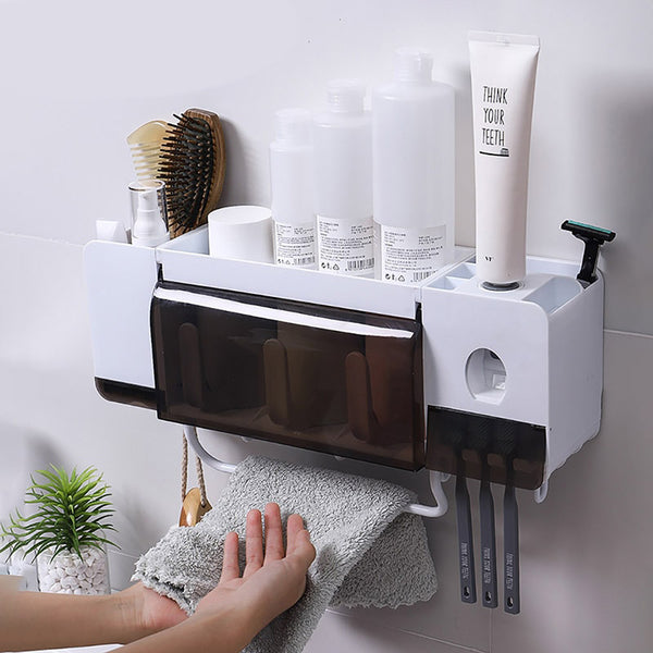 Wall Mount Dust-proof Toothbrush Holder With Cups