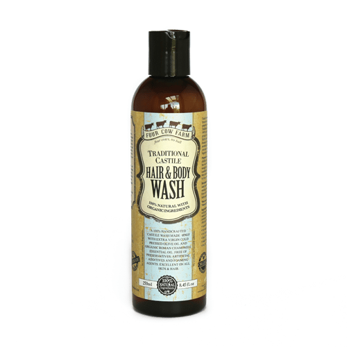 Traditional Castile Hair and Body Wash 250ml / 8.45 fl.oz-Handcrafted Skincare-100% Natural and Organic Foodgrade Ingredients-Four Cow Farm Australia