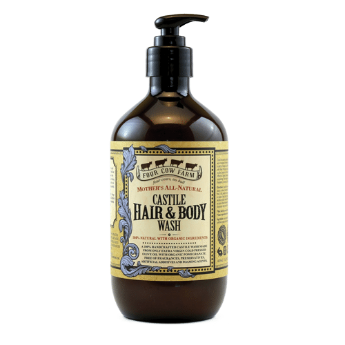 Mother's All-Natural Castile Hair and Body Wash 485ml / 16.39 fl.oz-Handcrafted Skincare-100% Natural and Organic Foodgrade Ingredients-Four Cow Farm Australia