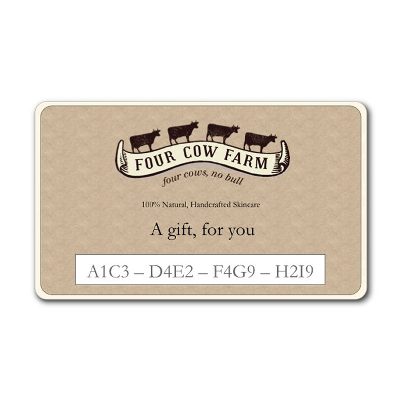 Gift Card-Gift Card-Handcrafted Skincare-100% Natural and Organic Foodgrade Ingredients-Four Cow Farm Australia