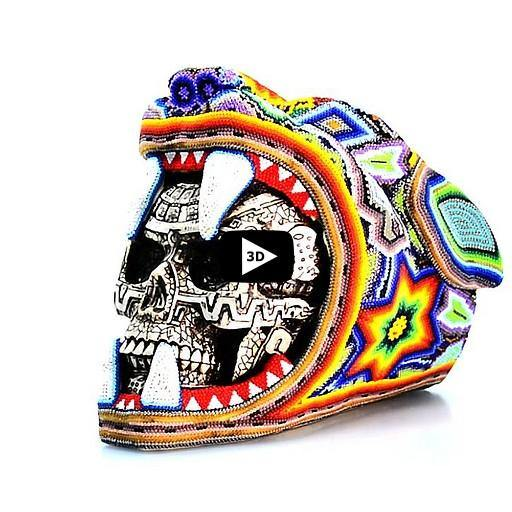 Large Jaguar Warrior Skull - Tierra Huichol