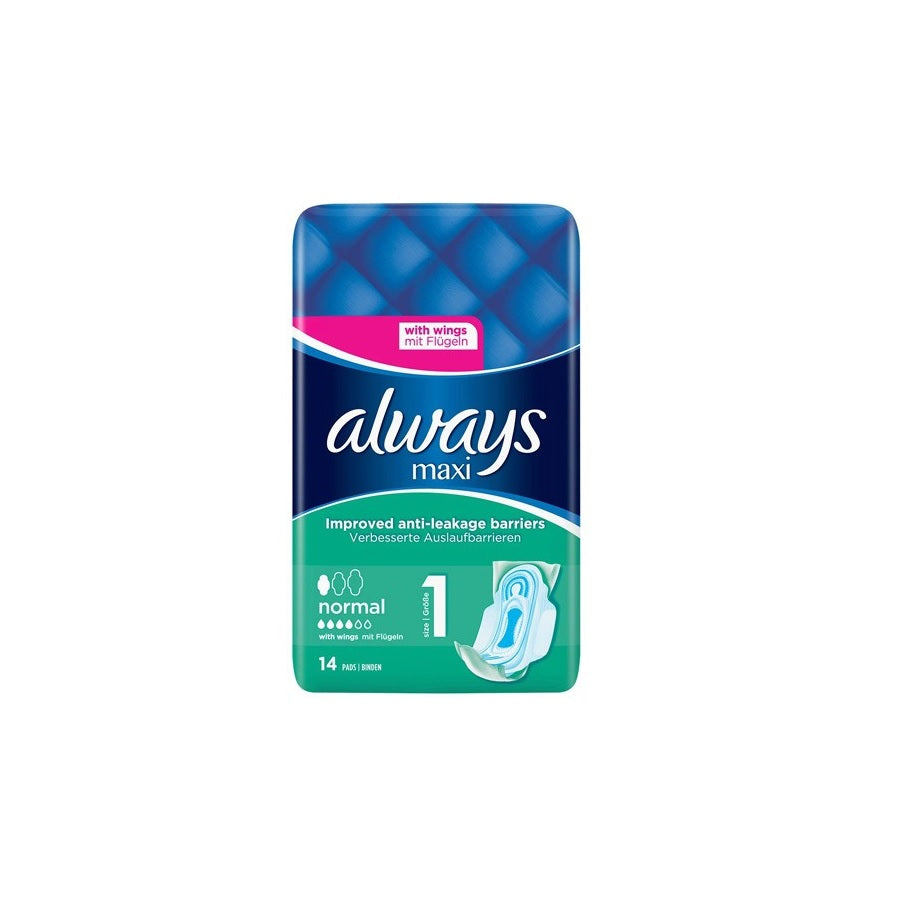 Always Maxi Normal With Wings 14s (Pack of 8 x 14s)