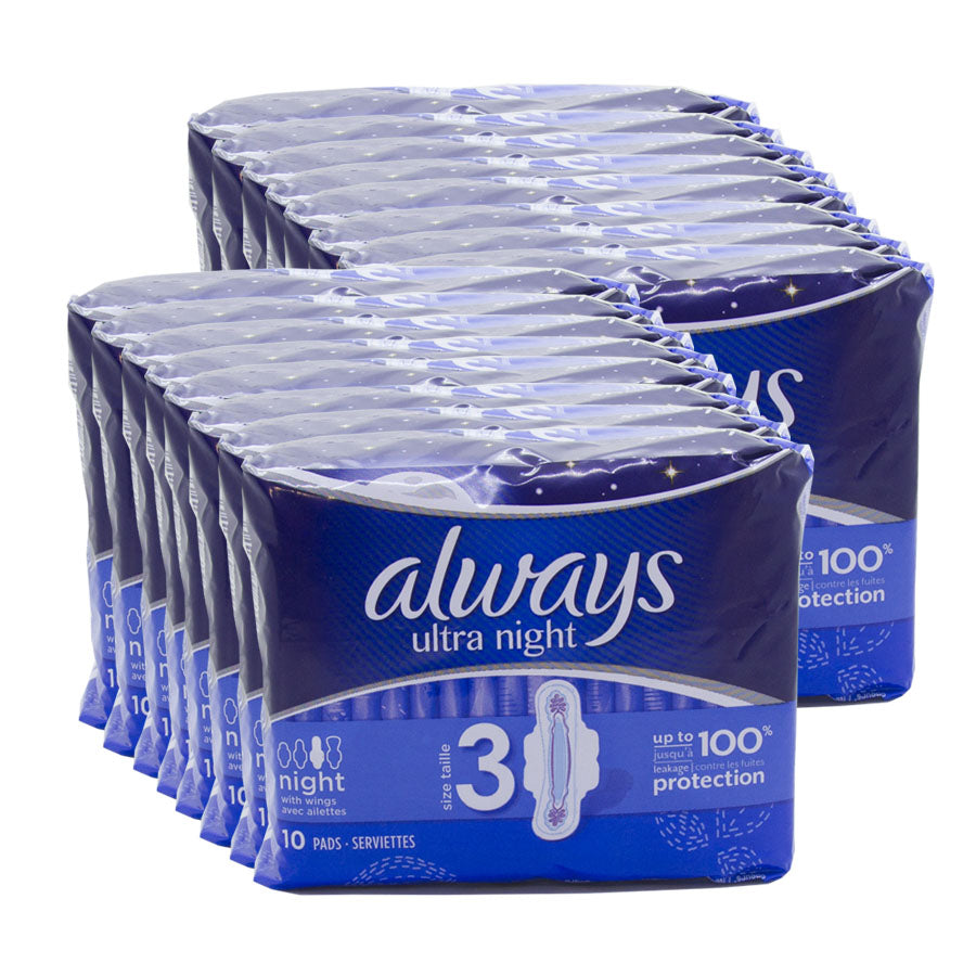 Always Ultra Night With Wings 10's (Pack of 16 x 10s)