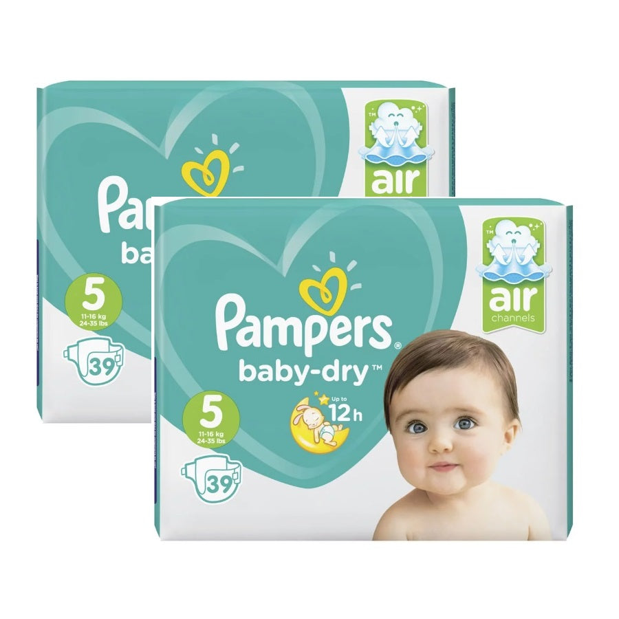 Pampers Baby Dry Junior Size 5 Essential Pack 39s (Pack of 2 x 39s)