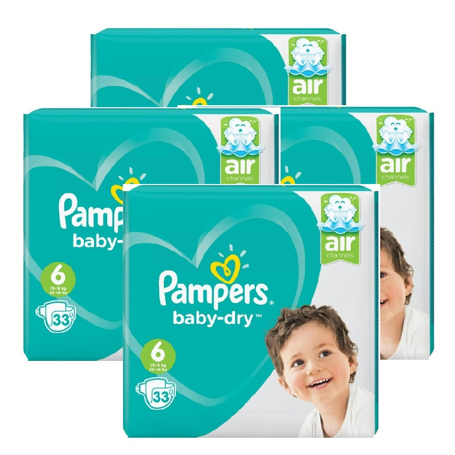 Pampers Baby Dry Extra Large Size 6 Essential Pack 33s (Pack of 4 x 33s)