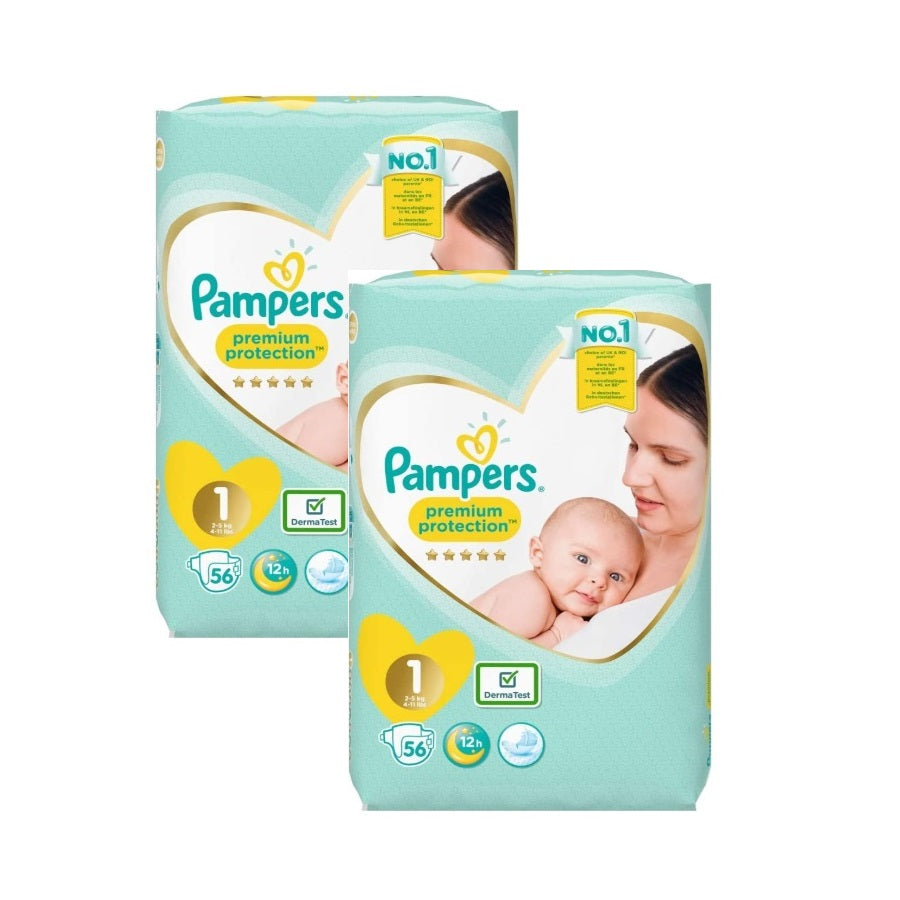 Pampers Premium Protection Size 1 Essential Pack 56s (Pack of 2 x 56s)