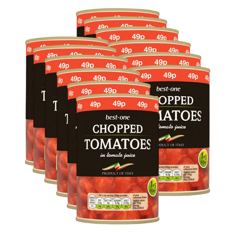 Best-One Chopped Tomatoes in Tomato Juice (Pack of 12 x 400g)