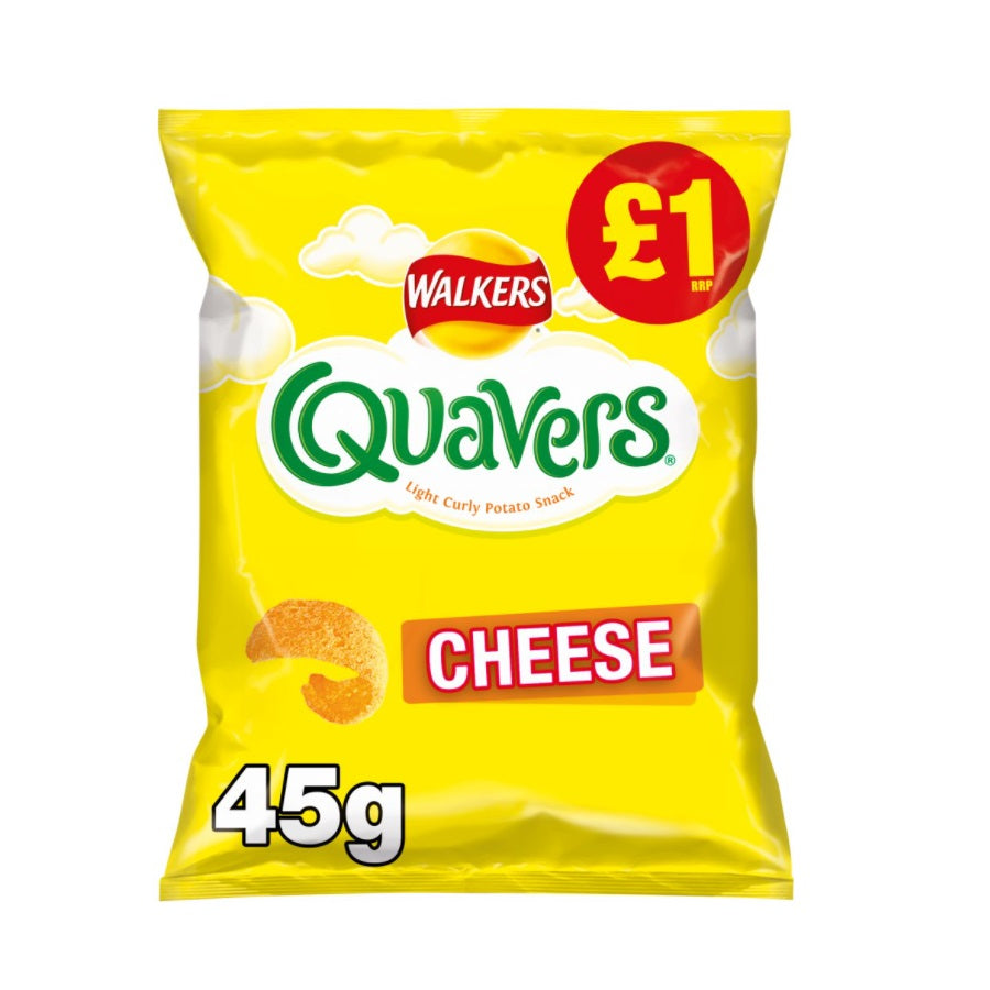 Walkers Quavers Cheese Snacks £1 PMP (Pack of 15 x 45g)