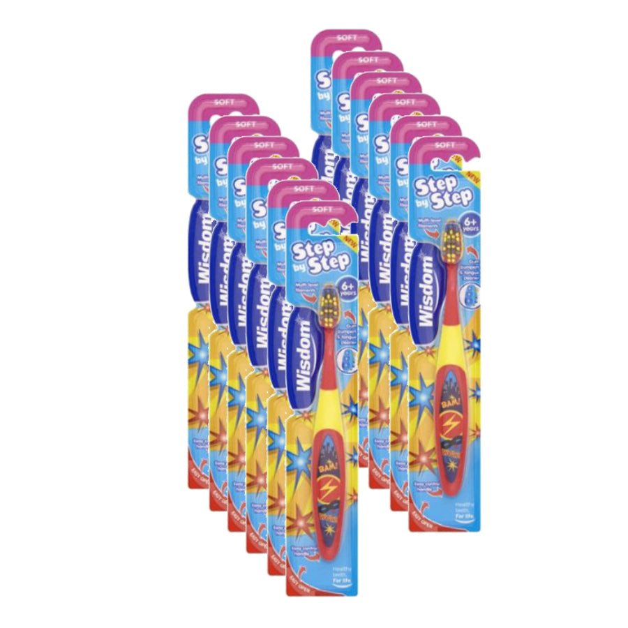 Wisdom Step-by-Step Kids Toothbrush 6+ Years (Pack of 12 x 1)