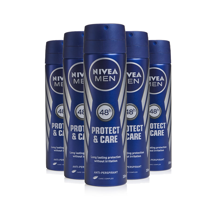 Nivea Mens Deodorant Protect & Care 150ml (Pack of 6 x 150ml)