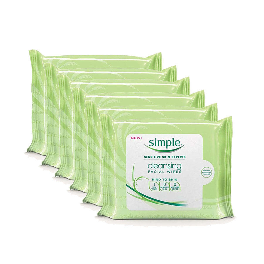 Simple Cleansing Facial Wipes 25s (Pack of 6 x 25s)