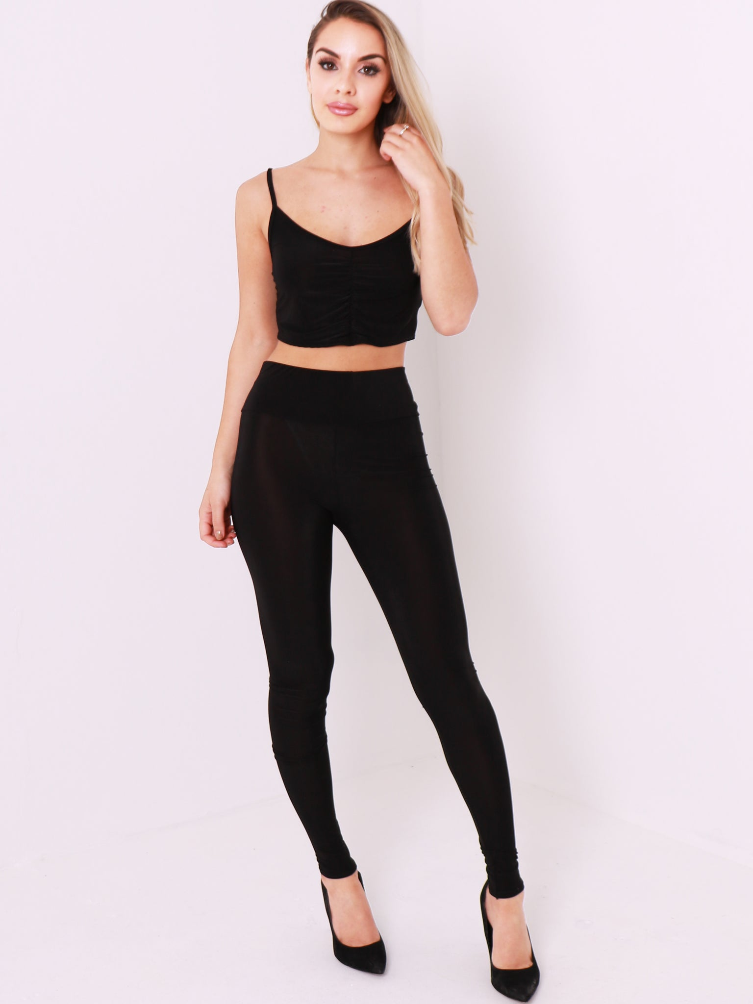 V Neck Ruched Crop Top and Legging Co Ord