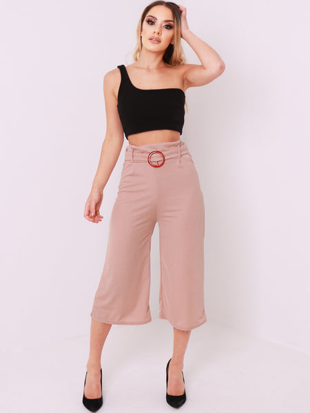 3/4 Length Wide Leg Culottes Trousers - Inoxclothing