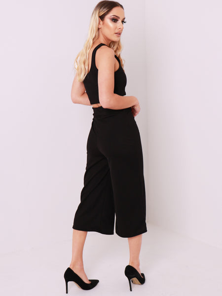 3/4 Length Wide Leg Culottes Trousers
