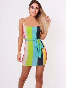 Multi Stripe Tie Waist Belt Bodycon Dress - Inoxclothing