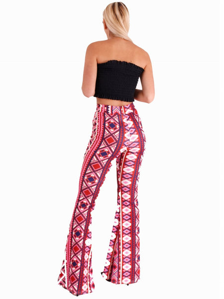 Aztec Print Fit and Flare Trousers