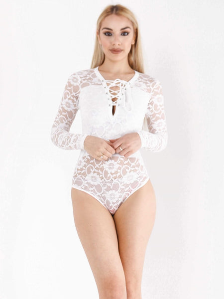All Over Lace Lace Up Bodysuit - Inoxclothing
