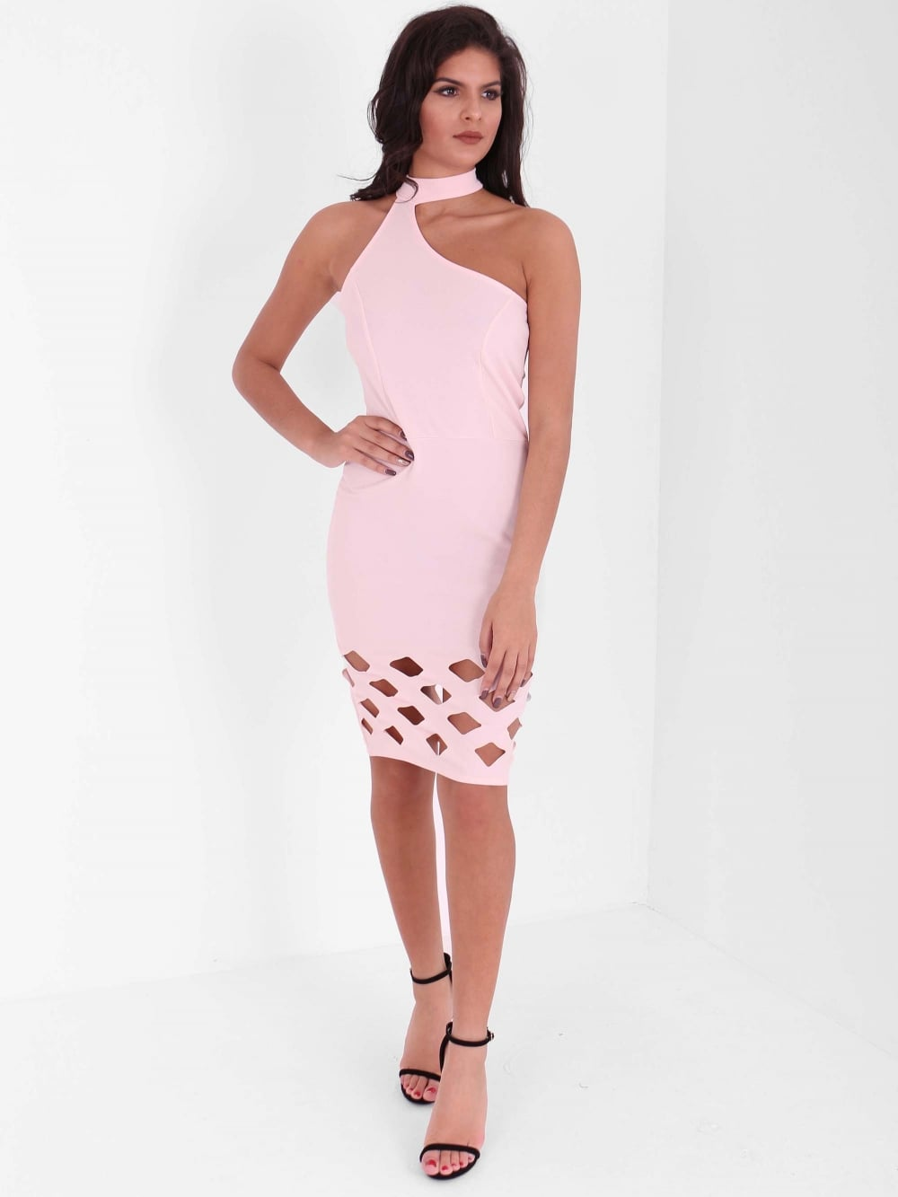 Asymmetric Chocker Laser Cut Dress - Inoxclothing