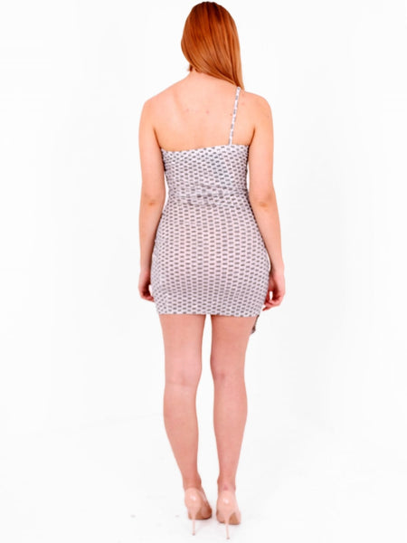 Asymmetric Glitter Mini Dress