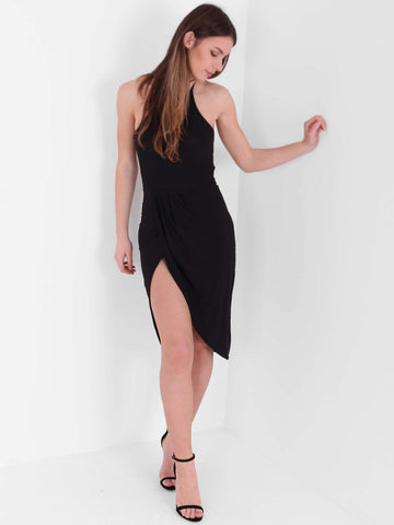 Asymmetric Hem Halterneck Slinky Dress - Inoxclothing